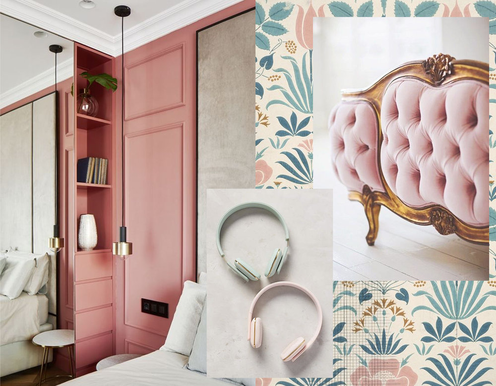 bedroom image via  Archilovers  - The Anselm mural by C F A Voysey  Surface View  - bed via  Jadore Lexie Couture  - aHead wireless headphone  Anthroplogie