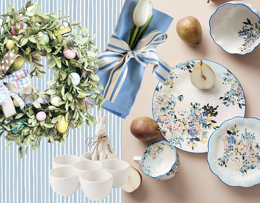 wallpaper Croquet Stripe  Cole & Son  - Easter ceramic bunny egg cup - Easter Wreath  Artificial Wreaths  - Gardenshire Dinner set  Anthropologie