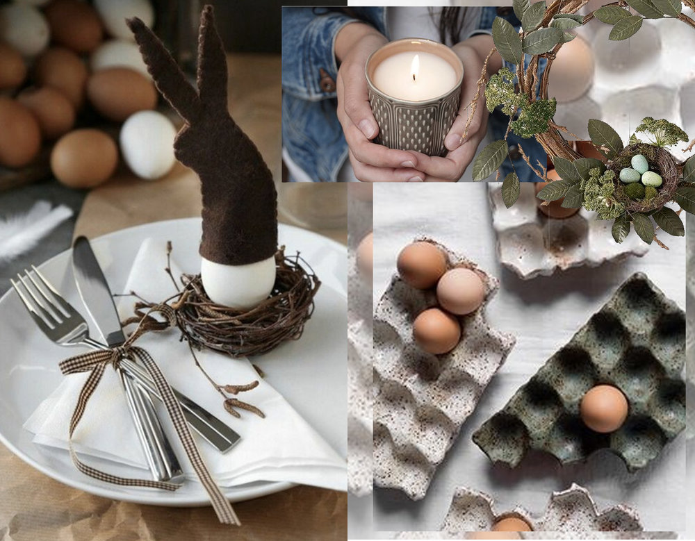 table decoration via  Fresh Ideen  - candle  Gien  - rustic Easter wreath via  Shop Style - ceramic egg container of Jo Hoban via  Instagram