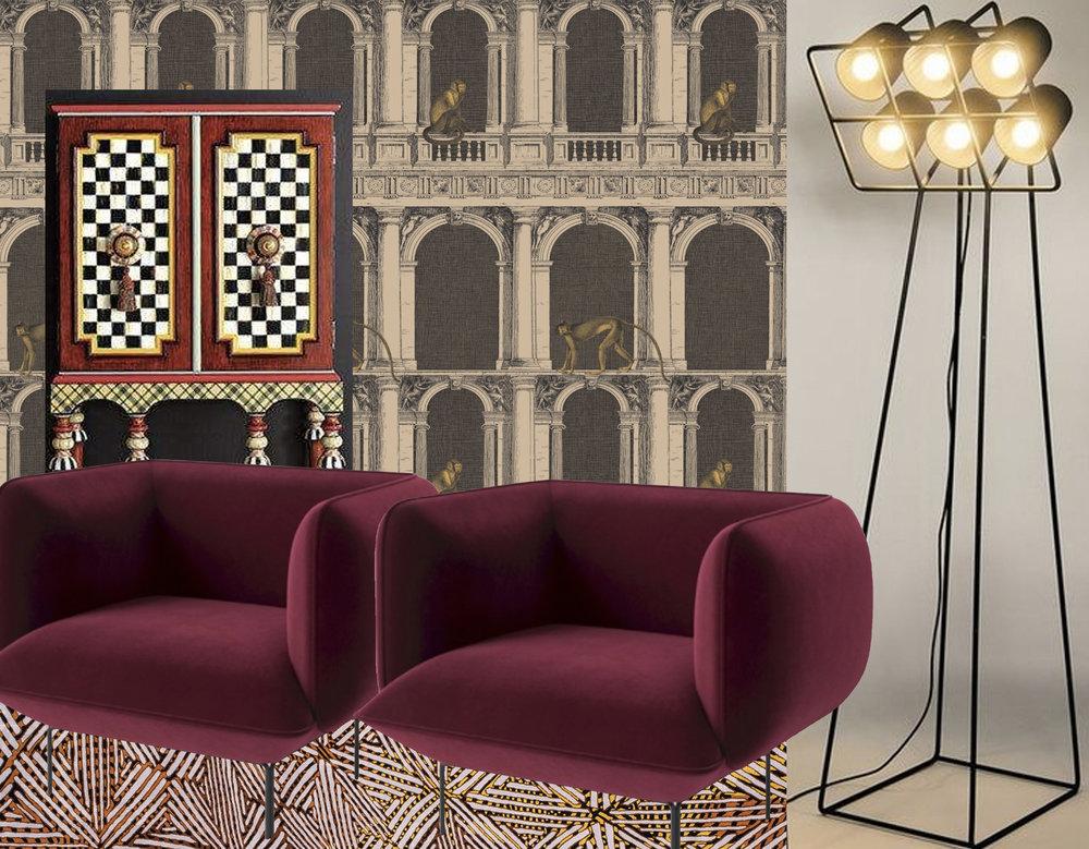 wallpaper Procuratie & Scimmie Fornasetti II  Cole & Son  - Foxtrot Bar Cabinet  Neiman Marcus  - armchair Cloud  Bolia  -Multi Lamp Seletti  La Redoute  - rug SFPOT 1  Jan Kath