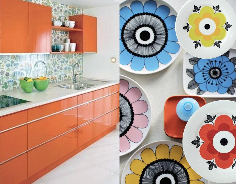 orange kitchen via  Apartment Therapy  - plates  Marimekko  - plates Margueritte  Gien