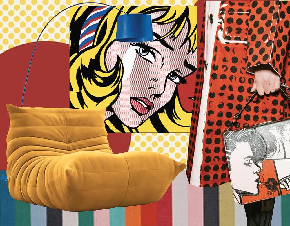 Big Red Dots mural  Surface View  - art print Girl with Hair Ribbon  Roy Lichtenstein - Twiggi floor lamp  Foscarini  - Togo  Ligne Roset  - fashion image   Prada  Summer 2018 - rug Halved  IKEA