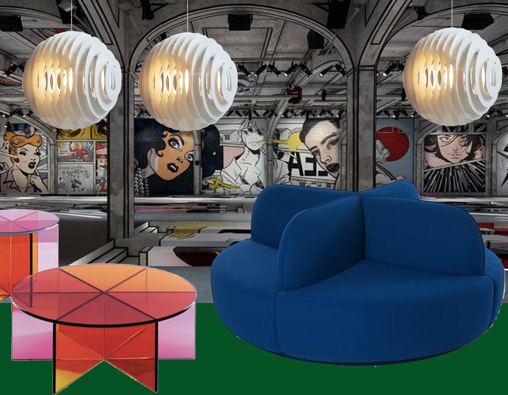 catwalk  Prada  SS 2018 - hanging lamp Supernova  Foscarini  - transparent coffee tables  Glas Italia  - La Isla sofa  Sancal