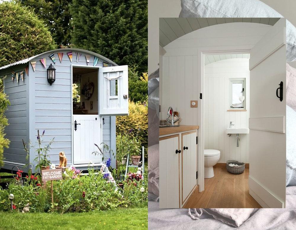 shepherd hut via  Long May She Rain - bathroom idea via  Blackdown Shepherd Huts