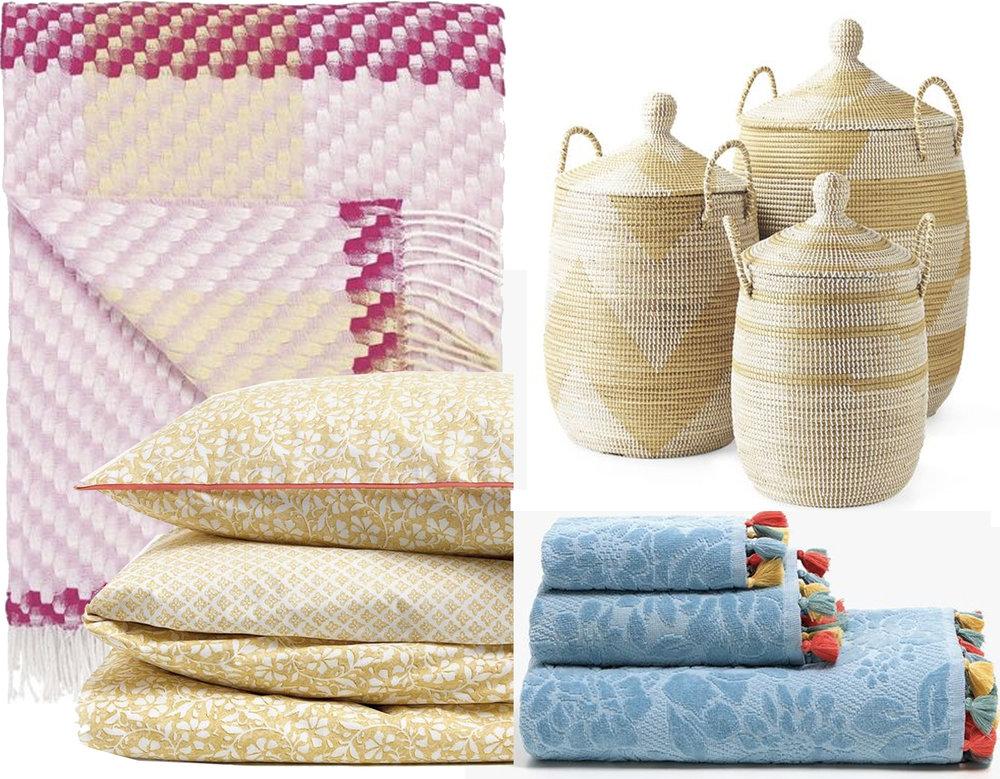 throw  Designers Guild  - flower printed bedlinen  Zara Home  - stripped La Jolla baskets  Serena & Lily  - bath towels with tassels  Zara Home