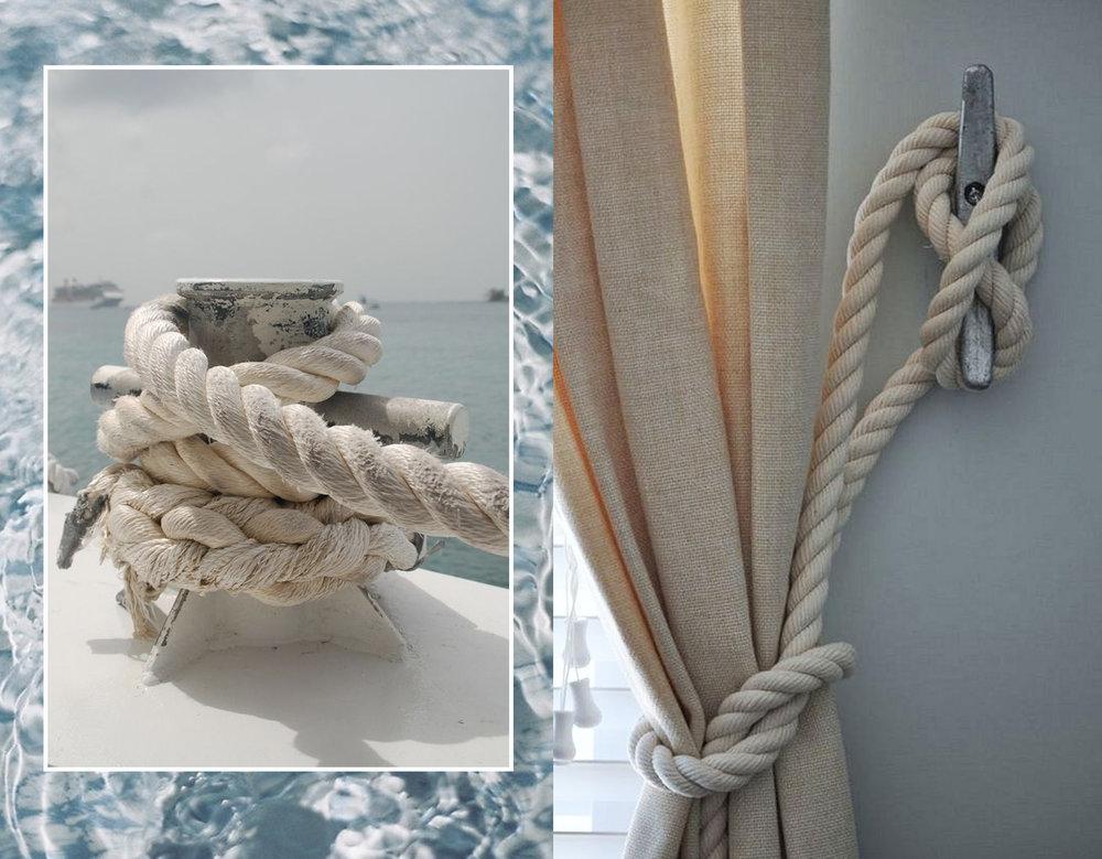 rop via  Pinterest  - rope tie back via  Decor Space