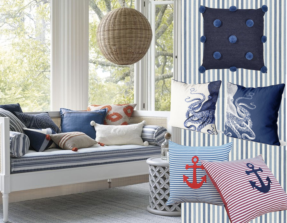 Harbour cane Daybed  Serena & Lily  - striped fabric Exmere  Designers Guild  - blue Pom Pom pillow  Consort  - Octopus pillow cover  Fab Funky Pillows  - Anchor pillow  Nautical Dream
