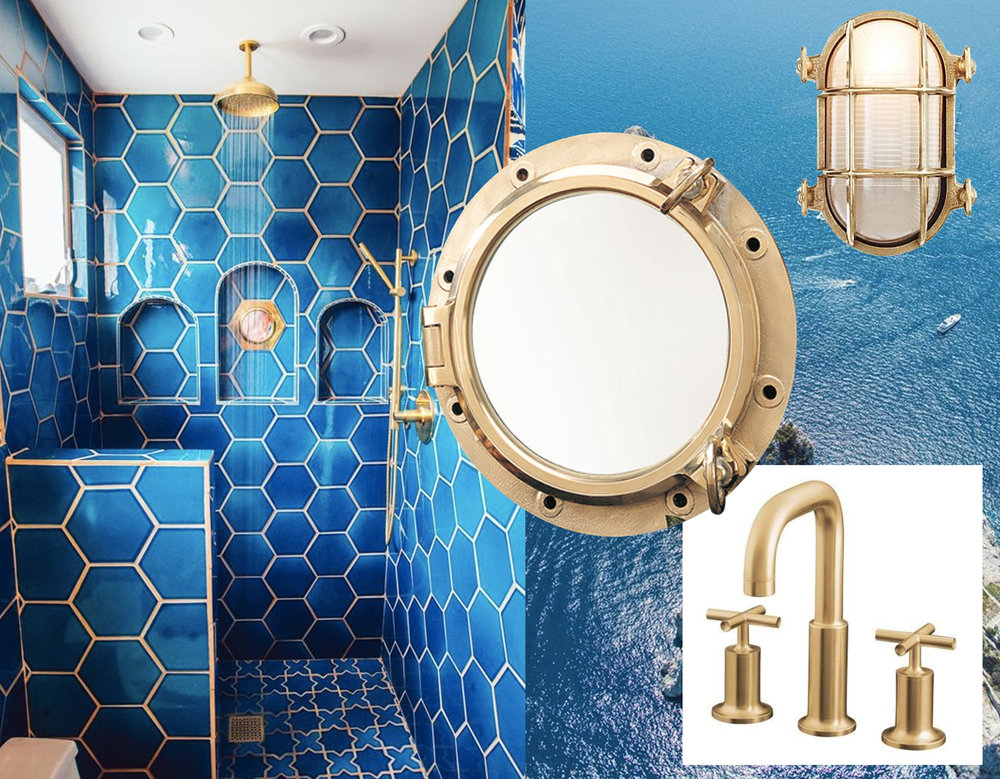 bathroom via  Fireclay Tile  - porthole mirror via  Everything Nautical  - oval bulkhead light  Design within Reach  - faucets Kohler via  Home Depot