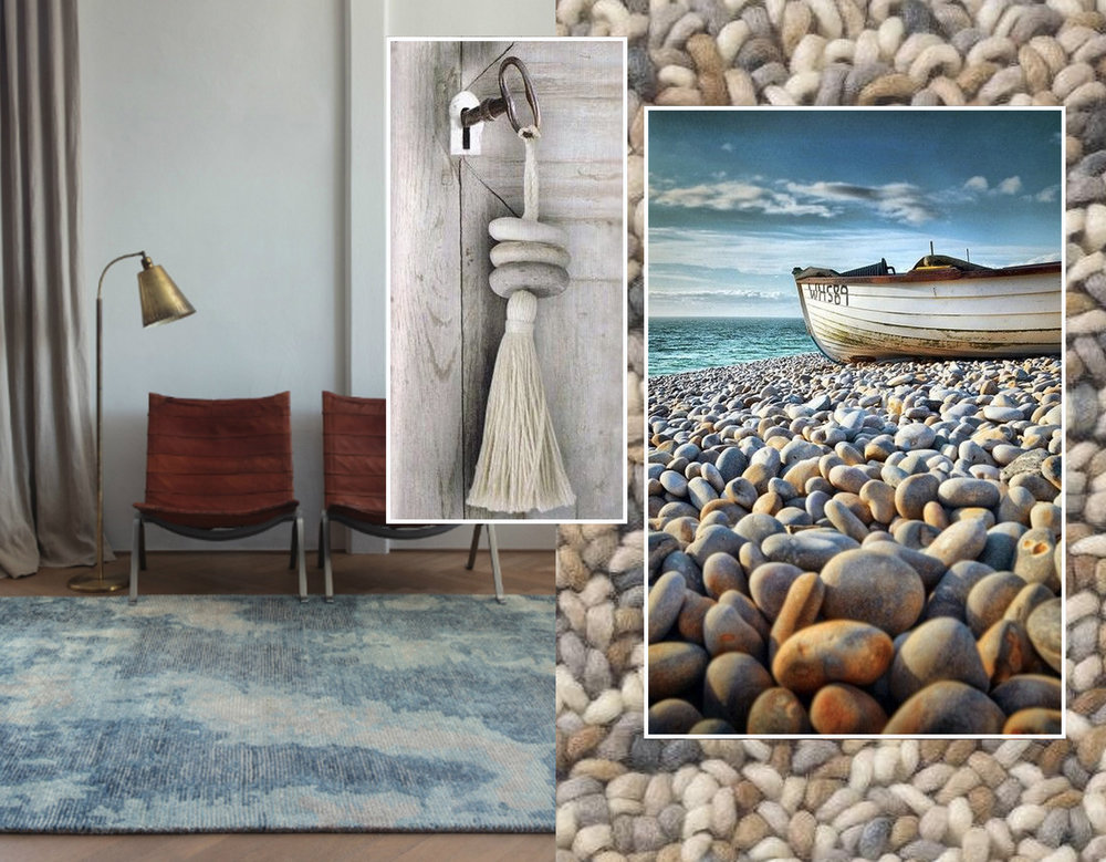 rug Erode  Ligne Pure  - rug Stone  Brink and Campman  - stone tassel via  Pinterest  - beach image via  Don't call me Betty