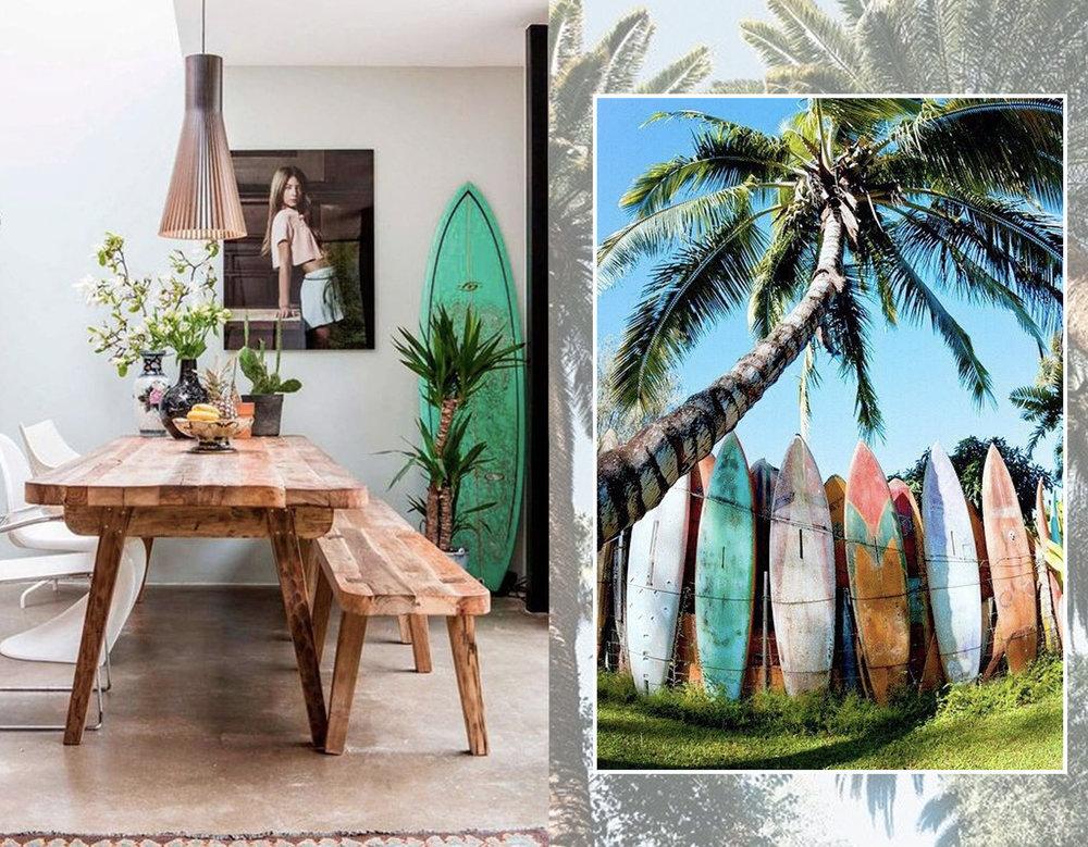 dining room via  Consort  - surfboards via  Pinterest