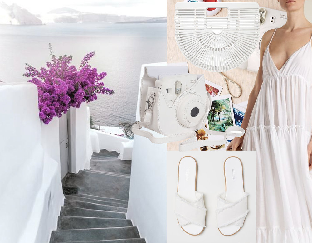 image Santorini via  527 Photoshop  - white Ark clutch via  Who What Wear  - camera Fujifilm Instax via  Amazon  - shoes  H&M  - dress Loup Charmant  Matches Fashion