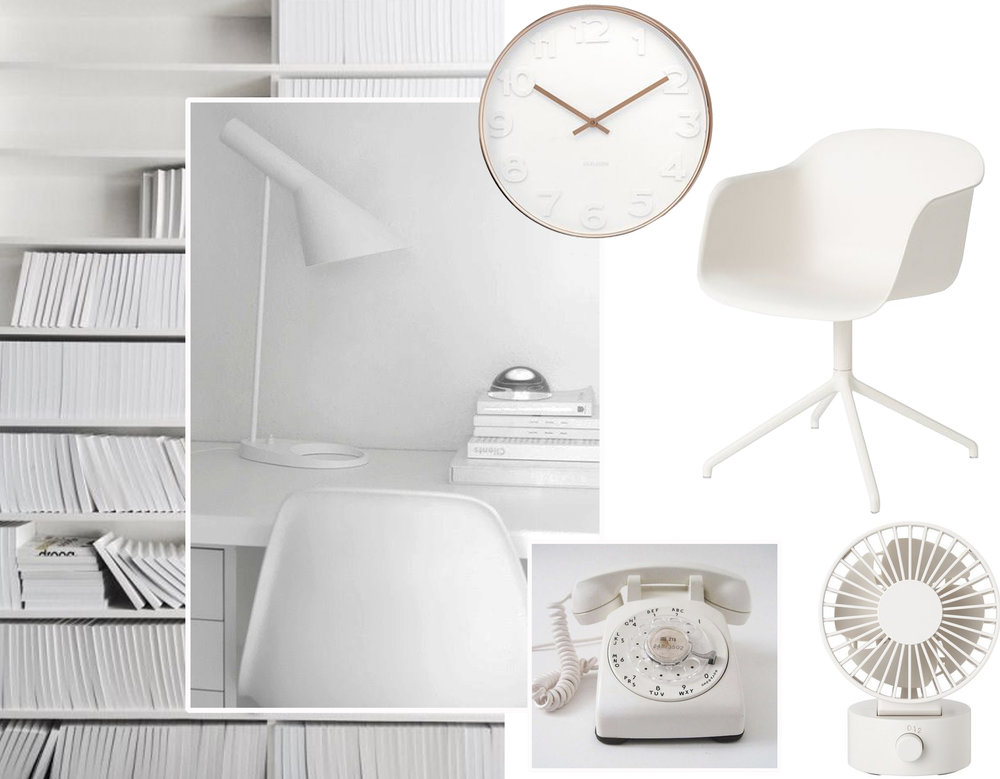 image library - image desk via  Chic Cham  - desk chair  Skandium  - telephone via  Pinterest  - small desk fan  Muji