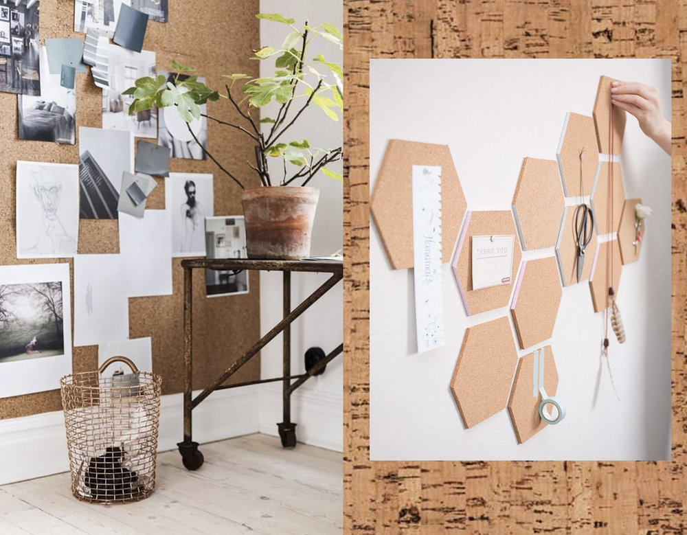 cork in the office via  Italianbark  - decorative cork on wall via  Dawanda