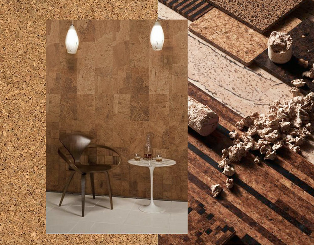 cork via  Abduzeedo  -  cork as wall covering via  Google  - cork flooring  Livestrong
