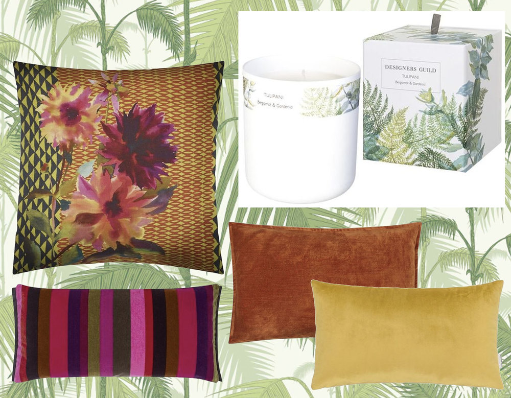 wallpaper Palm Jungle    Cole & Son  - cushions  Designers Guild  - fragranced candle  Designers Guild