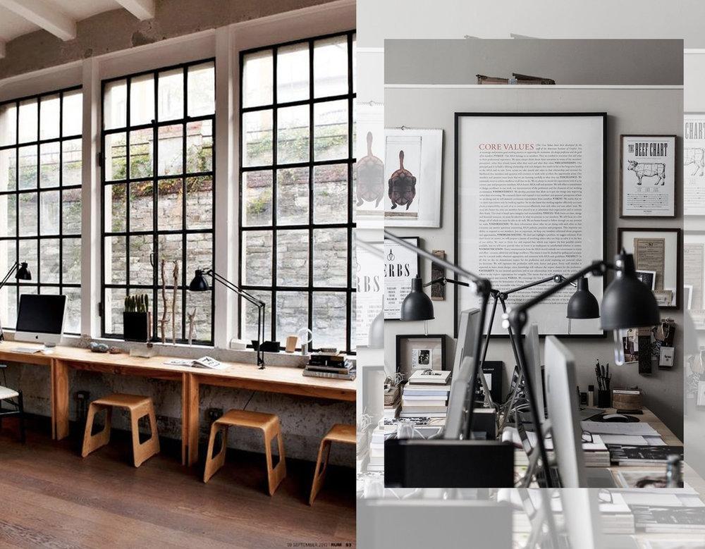 "office via  Bloglovin""  - desk lamps via  EMS Design Blogg"