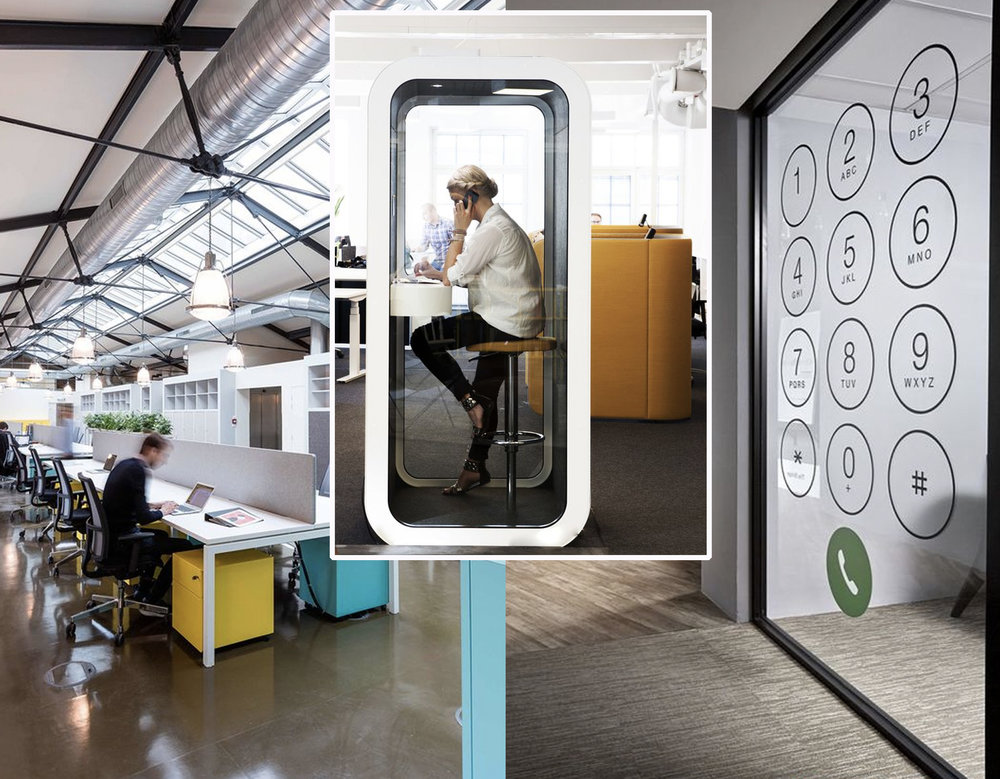 open workspace via  Frame -  phone booth via  Design Pinn  - private space via  Window tint La