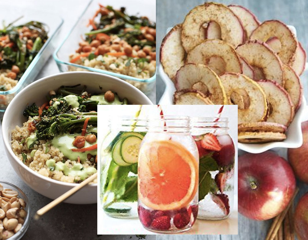 lunch ideas via  Career Girl Daily -  died apples via  Carrie;s Experimental Kitchen  - fruit infused waters via  Amazon