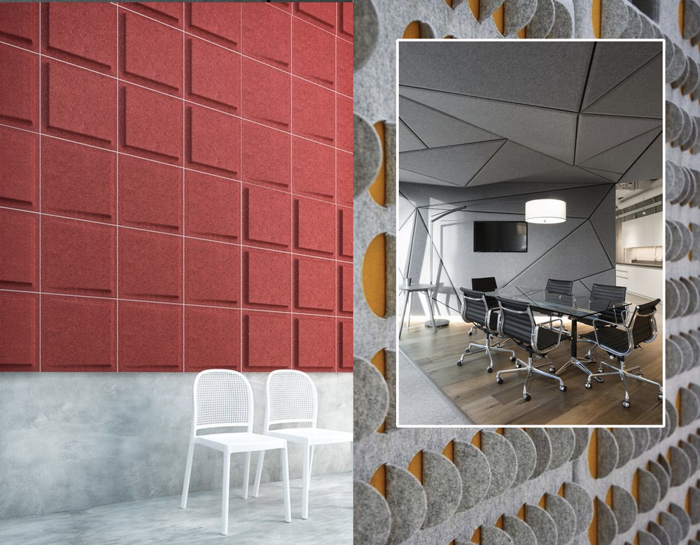 acoustic panels Gaber via  Archiproducts  - bespoke acoustic wallpanel ,POA, selina Rose via  Furnish  - office via  Office Snapshots