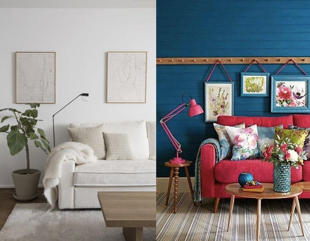 minimalist interior via  Apartment 34  - colorful interior via  Chasing the Green Faerie