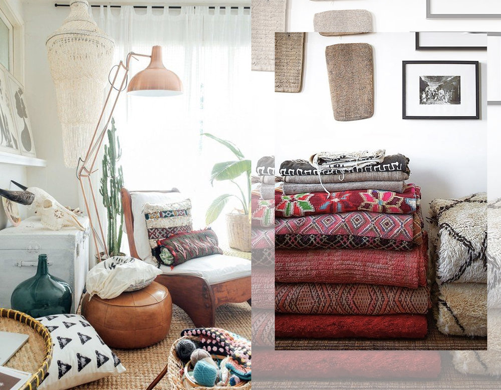 interior image via  the Fee Spirited  - vintage fabrics via  Moon to Moon