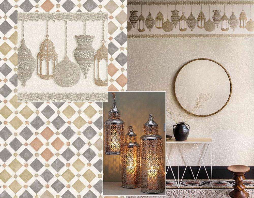 frieze Fez  Cole & Son  - wallpaper Zellige  Cole & Son - lanterns  BurkeDecor