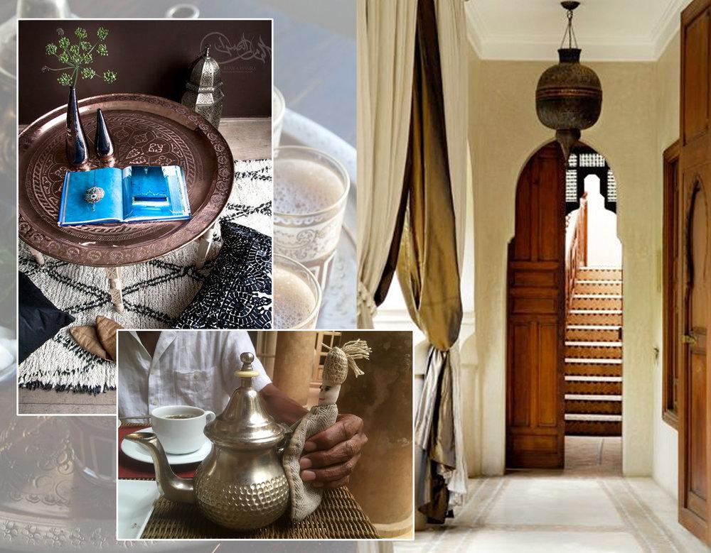 metal tray  El Ramla Hamla  - tea time and corridor  La Villa Nomade