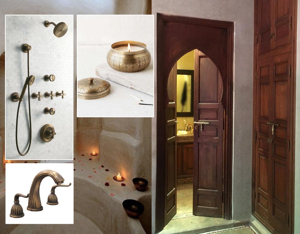 shower faucets  Kallista  - wash basin faucets  Bath Vanity Experts  - candle via  The Style Files  - tadelakt image in the back - bathroom  La Villa Nomade