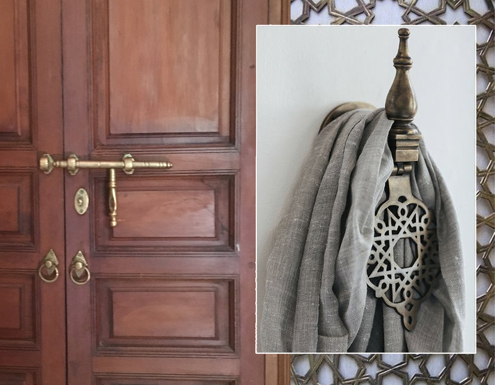 brass hardware  La Villa Nomade  - metal grill  Tazi Designs  - door knob as towel support similar at  Manyarahome