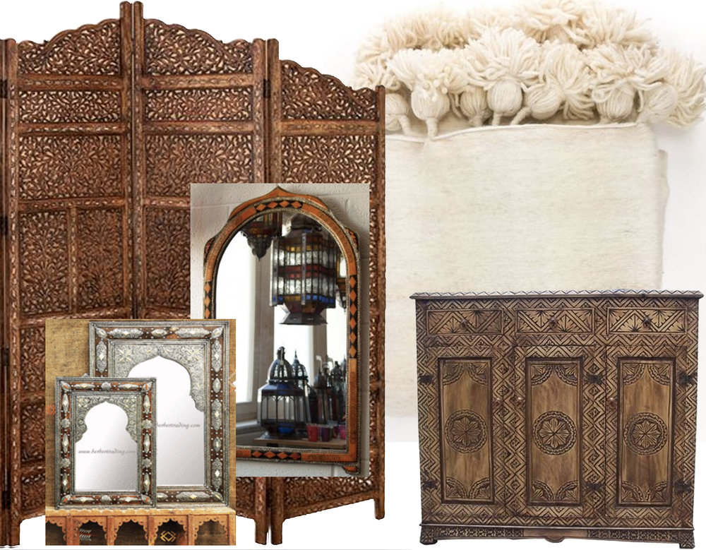 room divider  Berber  - big mirror  Moroccan Decor  - small mirrors  Berber  - carved cabinet  Casbah Decor  - bed cover  Heddle and Lamm