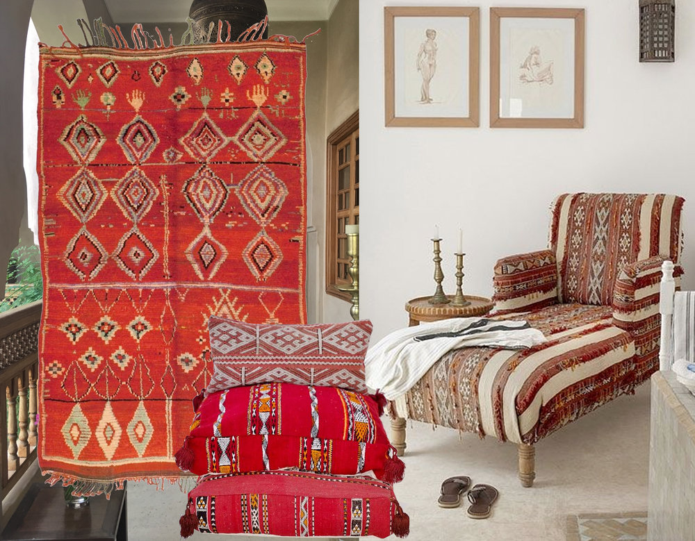 picture in the back  La Villa Nomade  - vintage Moroccan rug  Woven  - floor pillows  Maison Marrakech  - daybed via  Fromosa Casa