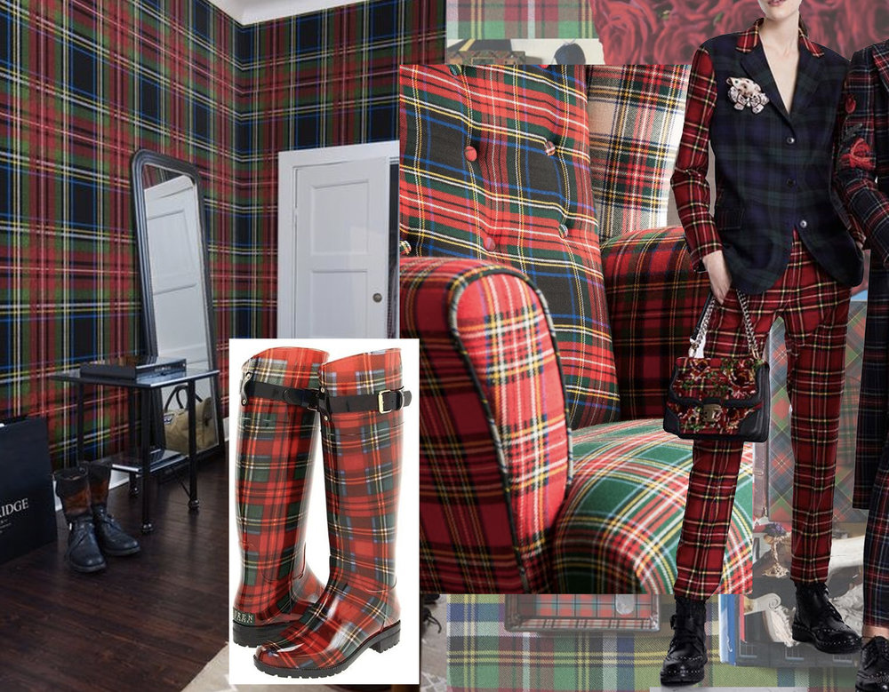 plaid wallpaper via  Laura Casey - rain boots  Amazon  - vintage tartan wingback chair via Philips & Cheers - fashion image Ermanno Scervino via  WWD