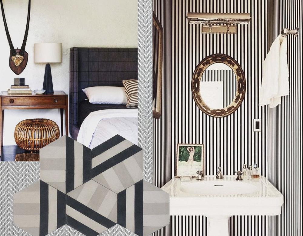 Catalina herringbone fabric  Thibaut - bedroom image via  Digs Digs  - cement tiles  Cement Tiles Shop  - bathroom image