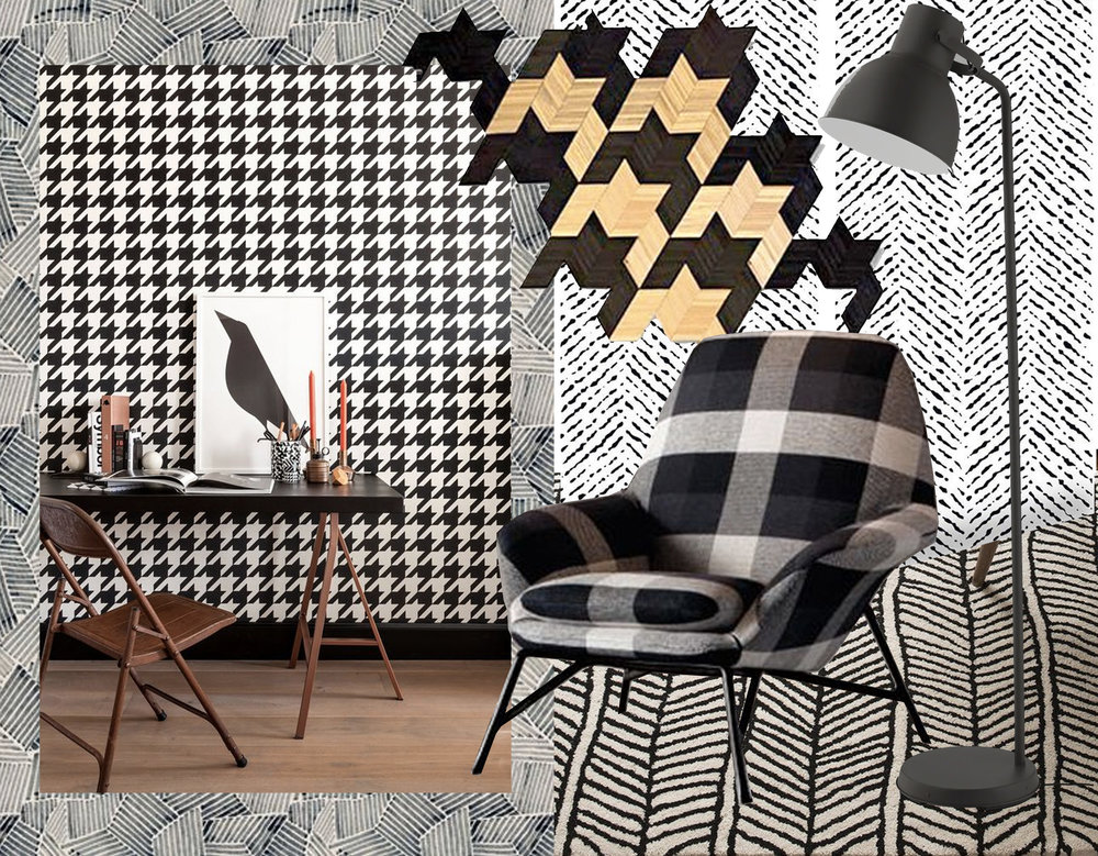 textile print Paul Duncan Thomson via  Pinterest  - dogtooths wallpaper via  Poligom  -herringbone wallpaper  Livette's Wallpaper  - art work of Guillaume Abdi via  Poligom  - plaid chair via  Decor Aid  - herringbone rug  Schoolhouse  - standing lamp Hektar  IKEA