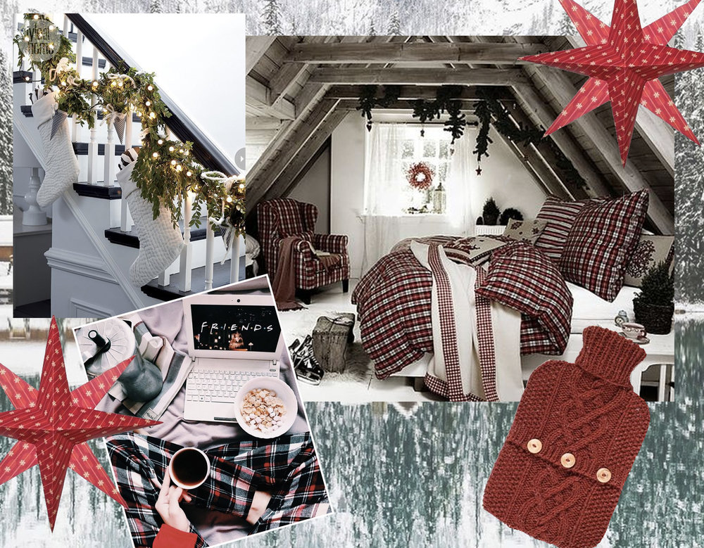 staircase  Fairy Lights  - bedroom in attic via  Decoist  - origami stars  Happy Happy Nester - knitted cover for warm water bottle  ACS Handknits