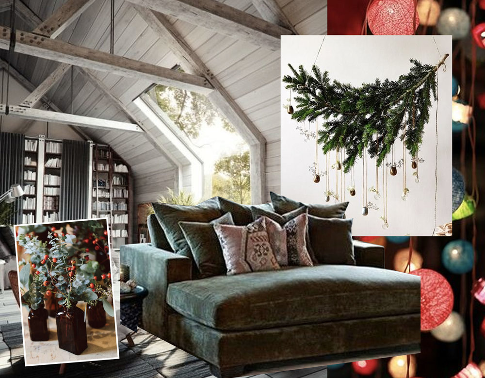 attic via  Tumblr  - Christmas decor via  Futurist Architecture  - colorful lights via  Flickr  -