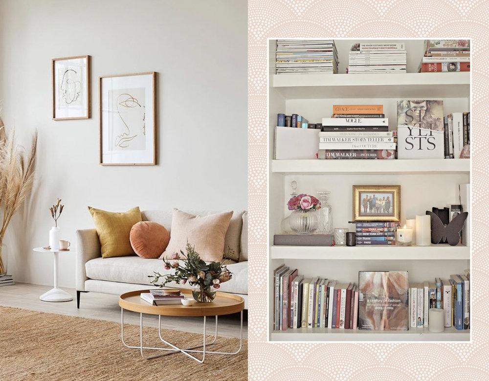 living room via  Boca da Loba - bookcase via  Fashion Mumblr  - wallpaper in the back Feather Fan  Cole & Son