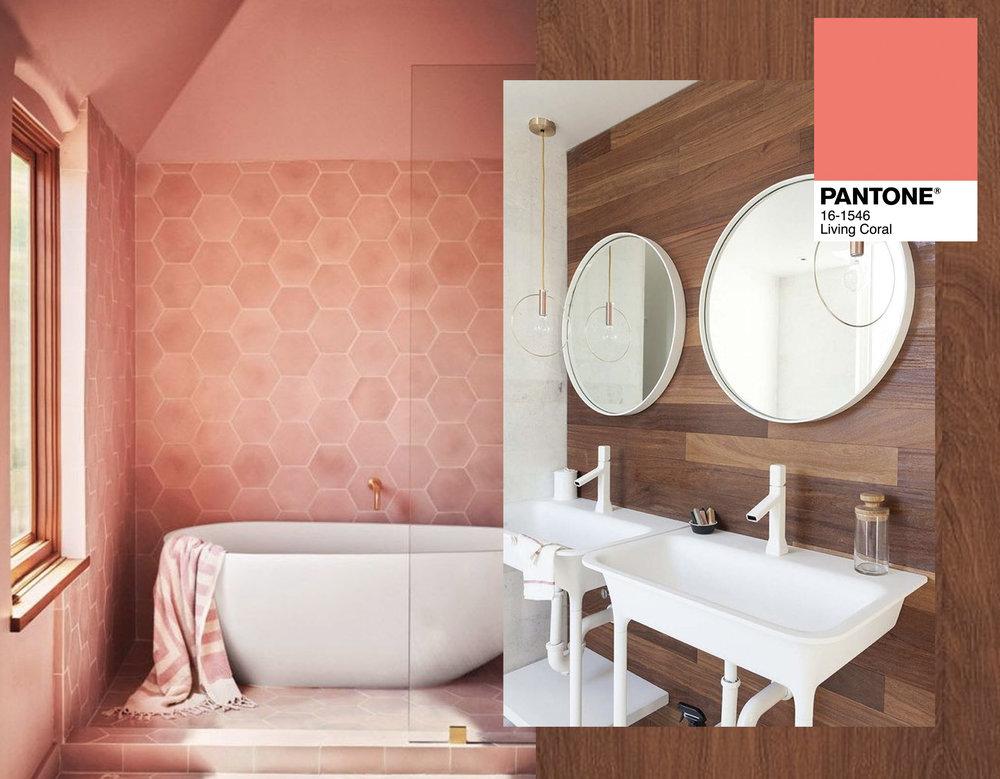 bathroom tiles via  Bloglovin'  - bathroom furniture via  One Kindesign
