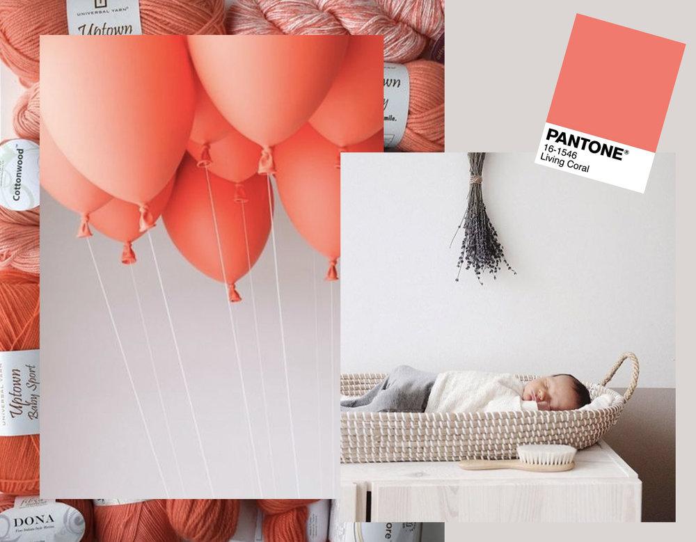 Reva Basket in nursery  Olliela  - balloons via  Yatzer  - knitting yarn via  Universaly Yarn