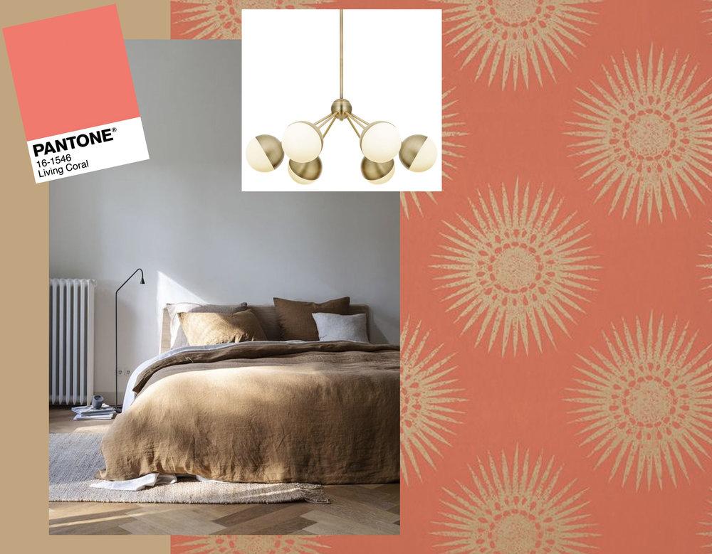 bedroom via  By Mölle  - hanging lamp  Lights  - Bahia wallpaper  Thibaut