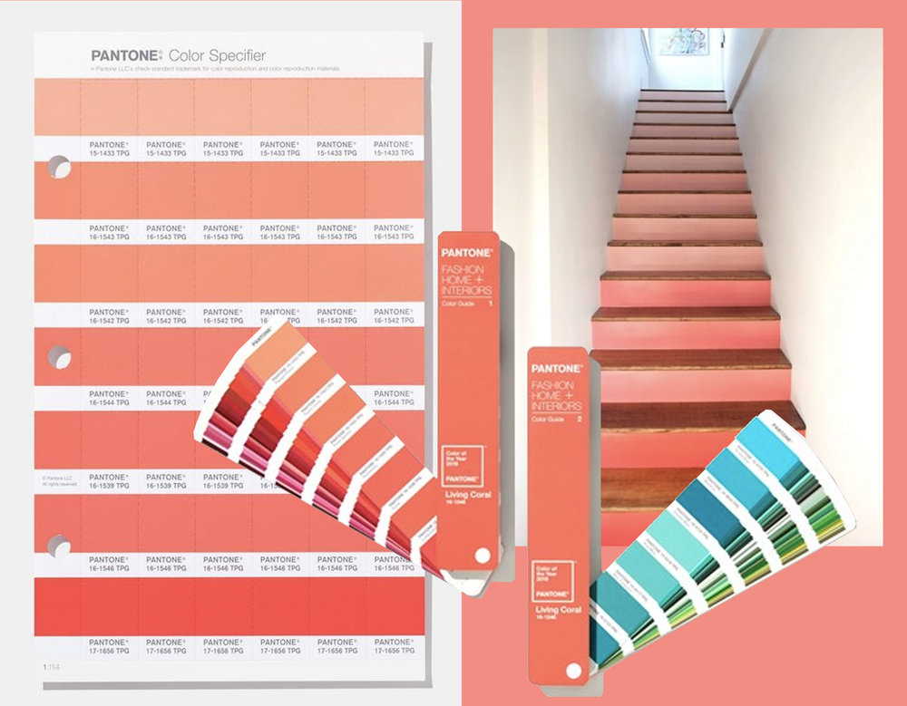 Pantone  Color of the Year 2019 - staircase with ombre effect via  Remodaholic