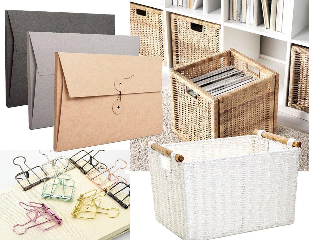 "document folder  Tyyp""Papeterie  - Branãs rattan basket  Ikea  - rectangular basket  Zara Home  - binder clips  Bellas Bits and Buys"
