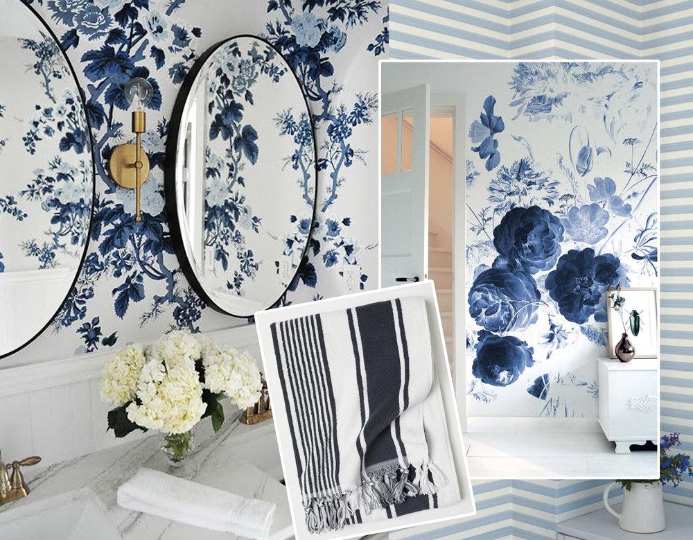 image bathroom via  Decorators Best  - striped towel  H&M  - mural in bedroom vis  Decoholic  - striped wallpaper  Farrow & Ball