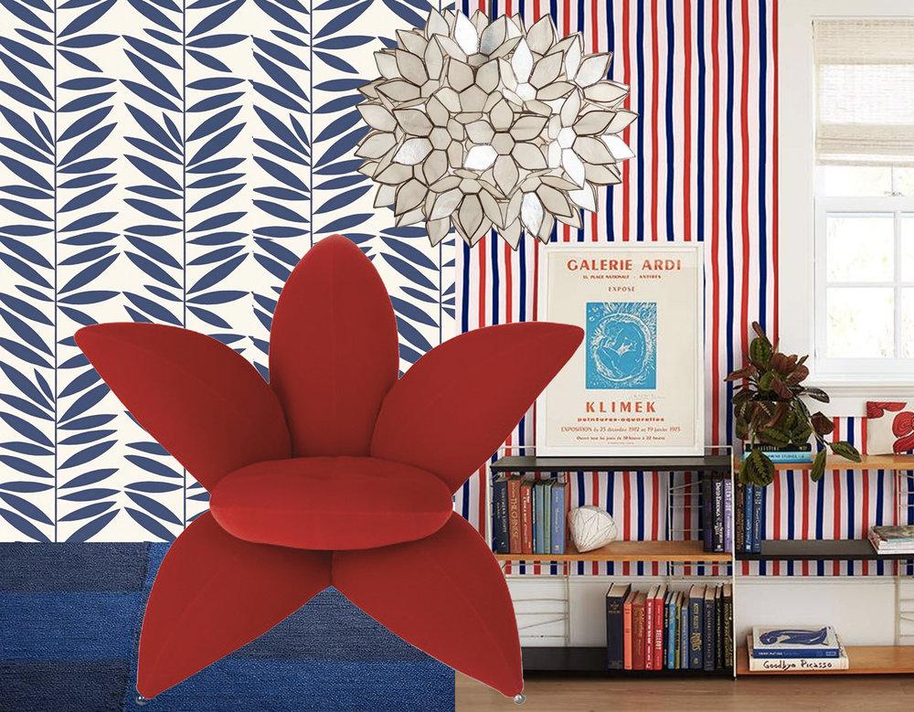 Leave Stripe wallpape r Urban American  - Stripes wallpaper via  Lulu & Georgia  - Getsuen armchai r Edra  - Capiz Lotus pendant lamp  World Market