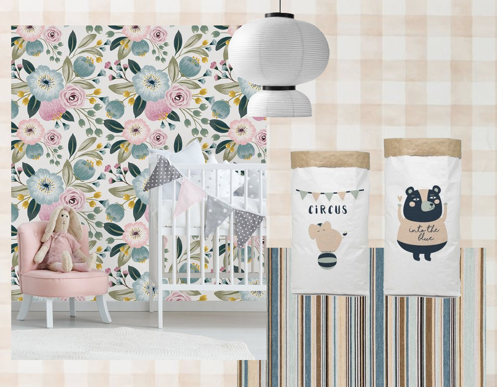 checked wallpaper Magnolia Home  York Wallcoverings  - lamp Formakami by Jaime Hayon for  &Tradition  - peel and stick wallpaper  Milky Way Decor  - Elana Striped rug  Chairish  - paper storage bags  Really Nice Things