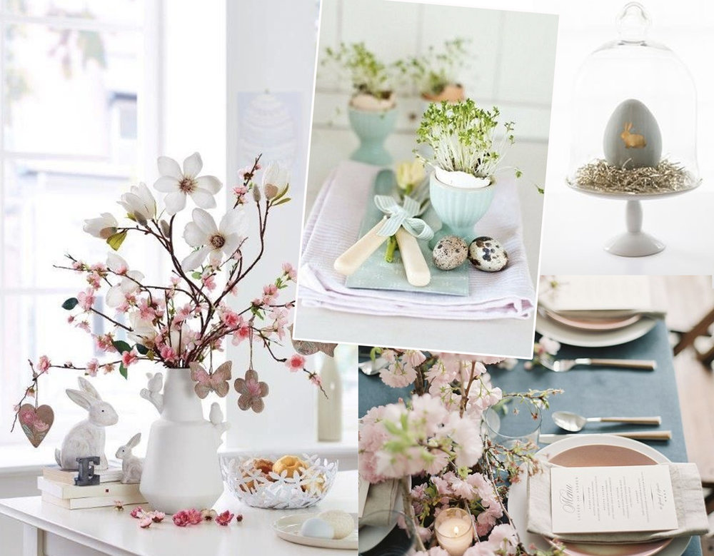 Easter table setting via  Alexandra Barva  - Easter breakfast via  La plante qui pousse  - minimalist Easter egg via  Eighteen 25  - pastels for Easter table setting via  Pinterest
