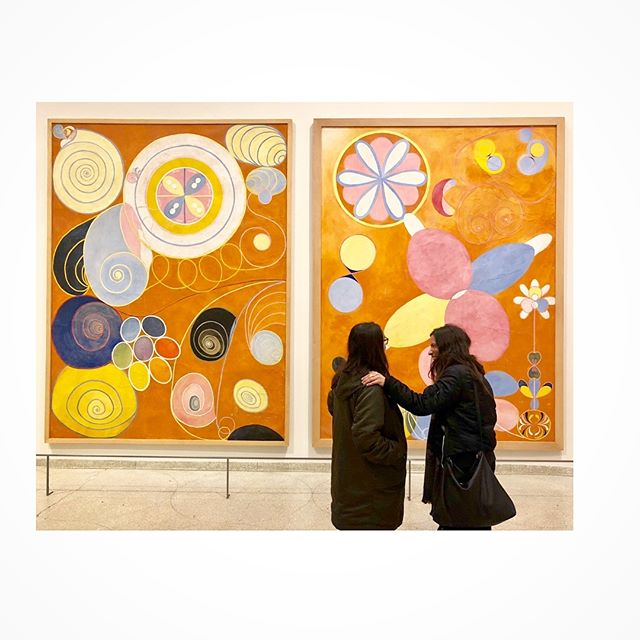 Helma af Klint: Paintings for the Future - the most uplifting, bold, spiritually ground-breaking show I've seen this year! #thefutureisfemale #artday with my girls @rachelsilly @mjmasala Yes, yesterday's post had a glitch...