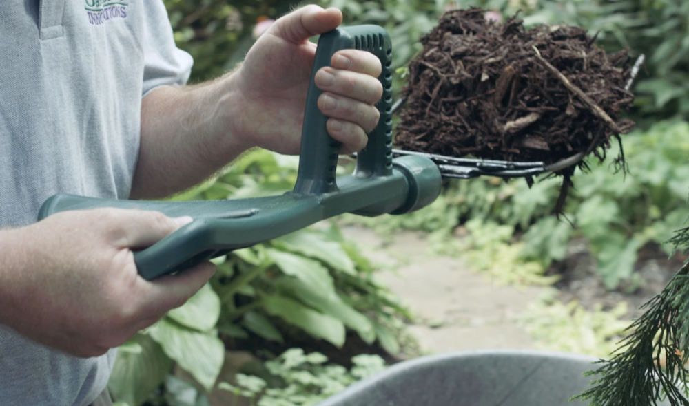 The ergonomic design of the Mulchfork provides ease of use and less stress   on your back.