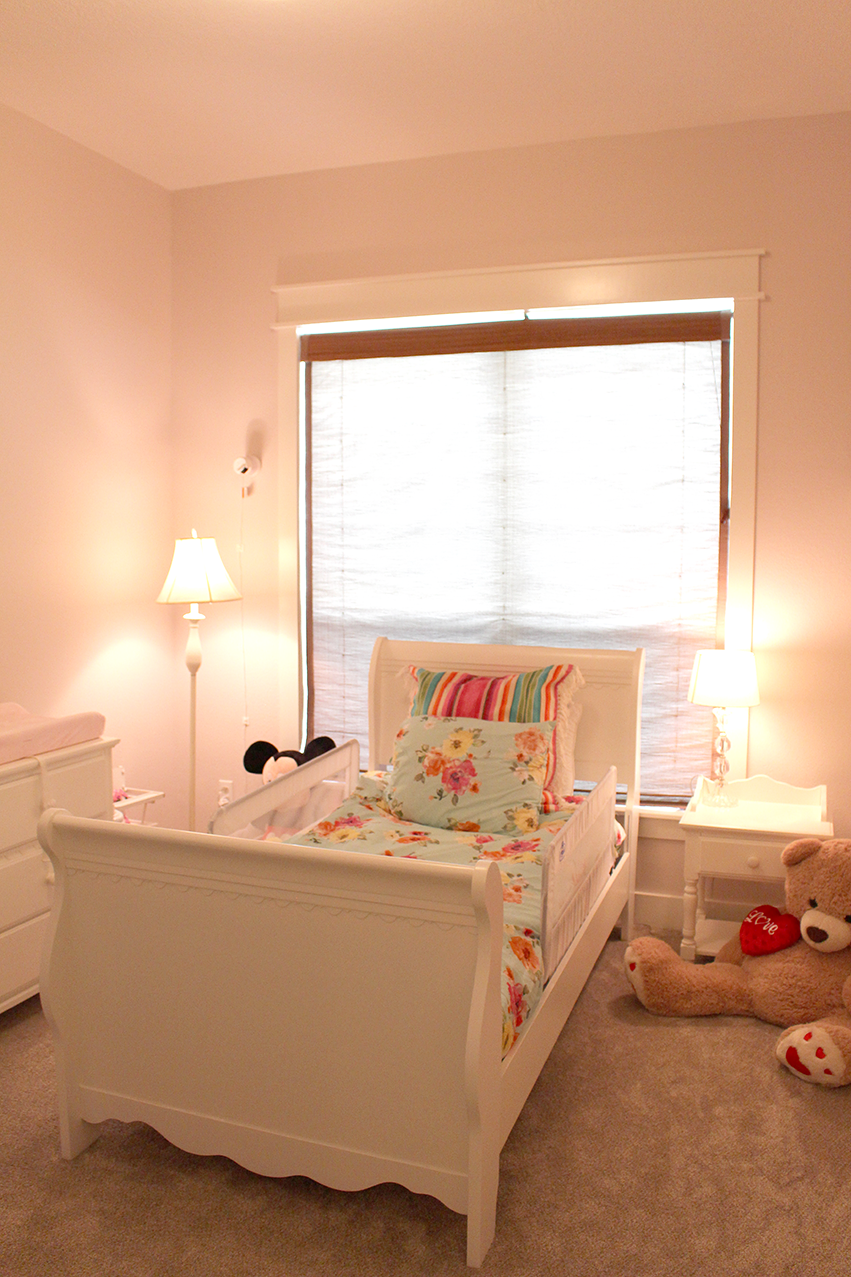 Our toddler gets to sleep in this dreamy space. I love her bedding. Swoon. There are a few more photos in the gallery below. More specific details to come!