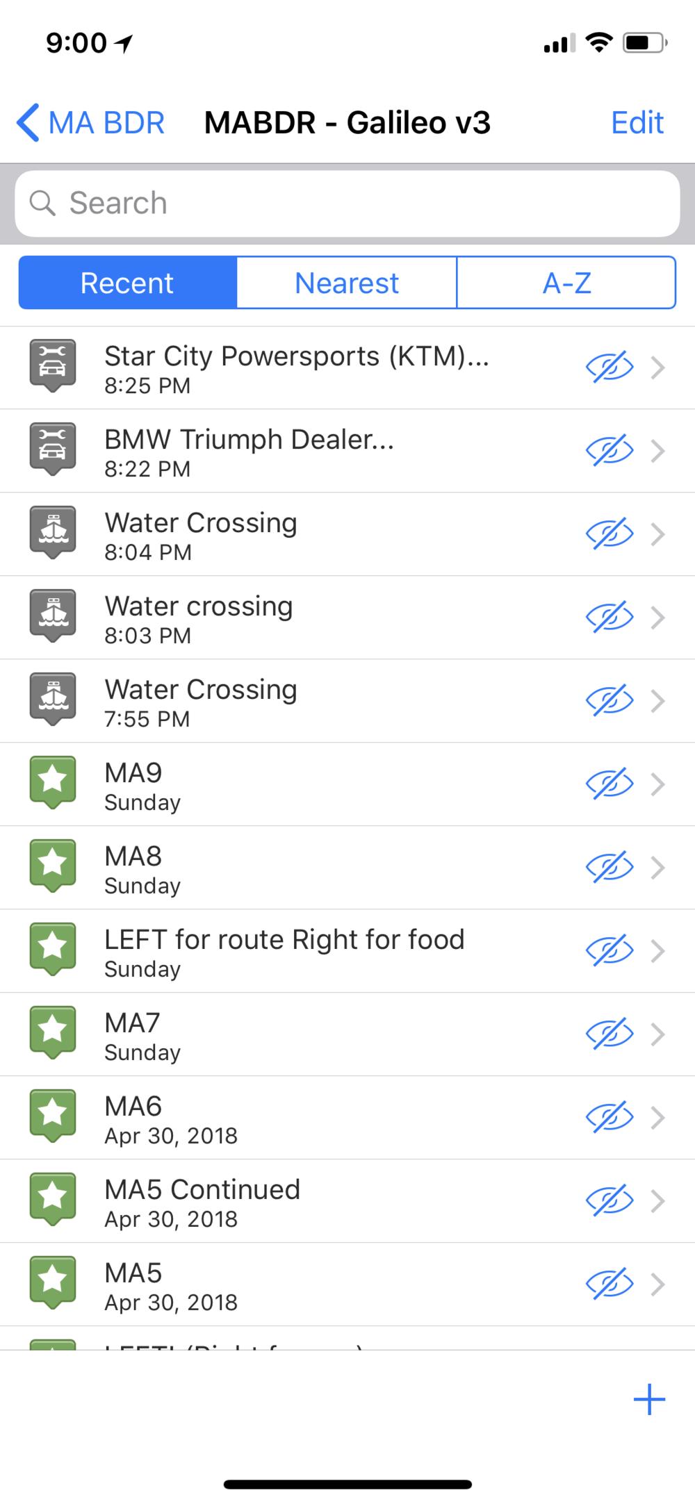 List of Tracks + Waypoints